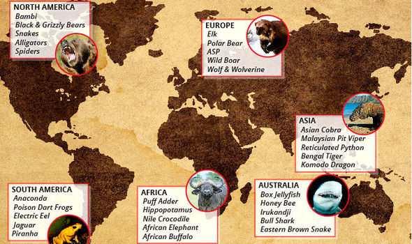 карта опасных животных