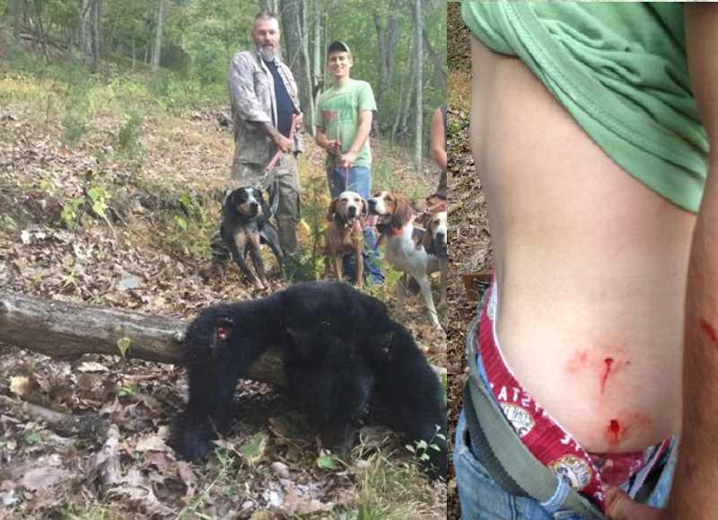 черный медведь накинулся на парня