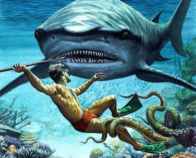 акула, водолаз и осьминог