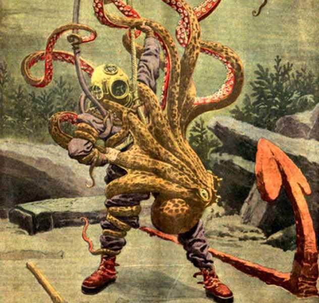водолаз и осьминог