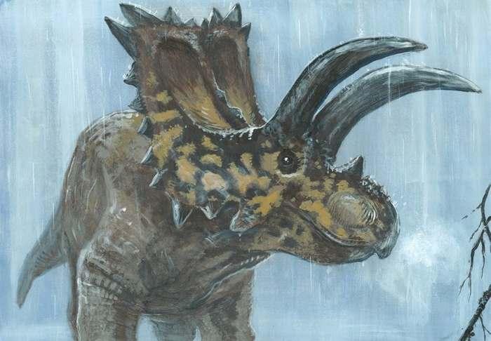 под дождем динозавр