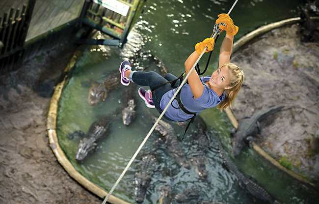 девушка над крокодилами