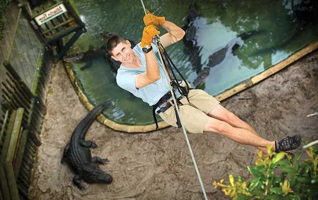зиплайн с крокодилами