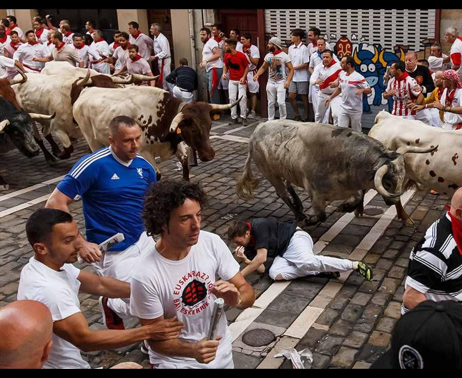 мужчина упал среди быков