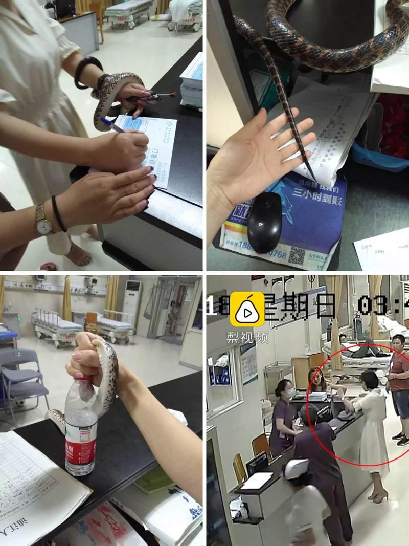 женщина в больнице держит змею