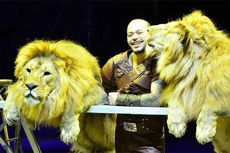 дрессировщик с двумя львами