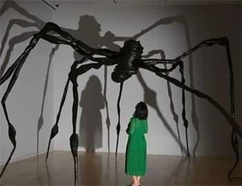 женщина и большой паук